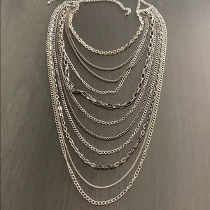 11 Strand Mixed Chain Long Necklace